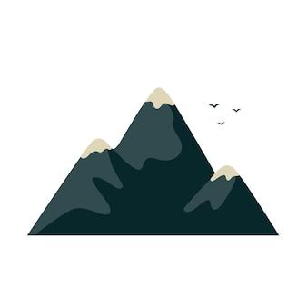 Гора в плоском мультяшном стиле