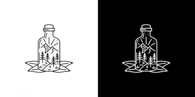 葉モノラインデザインのボトルの山