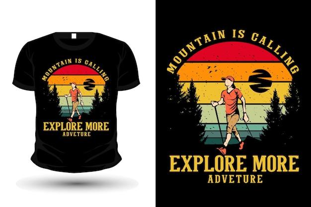 Mountain is calling explore more merchandise silhouette mockup t shirt design