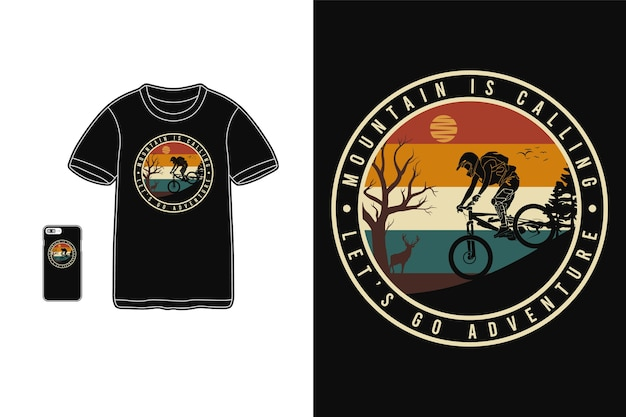 Mountain is calling let's go adventure, t shirt design silhouette retro style