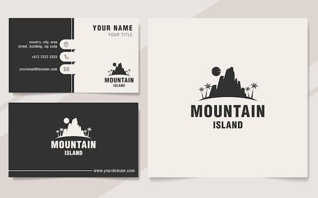 Шаблон логотипа горного острова в стиле монограммы