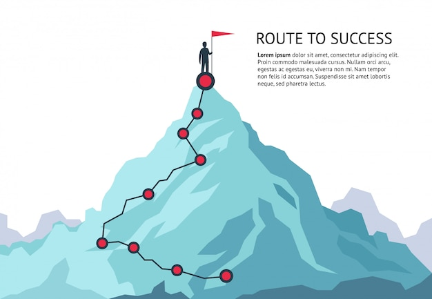 Mountain journey path. route challenge infographic career top goal growth plan journey to success. business climbing