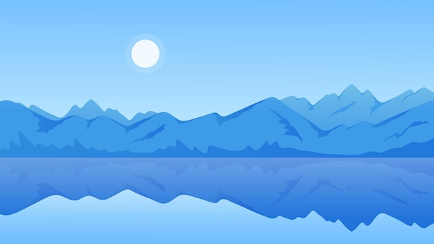 Mountain lake calm sunny landscape fresh scenic blue water with reflection of mountains