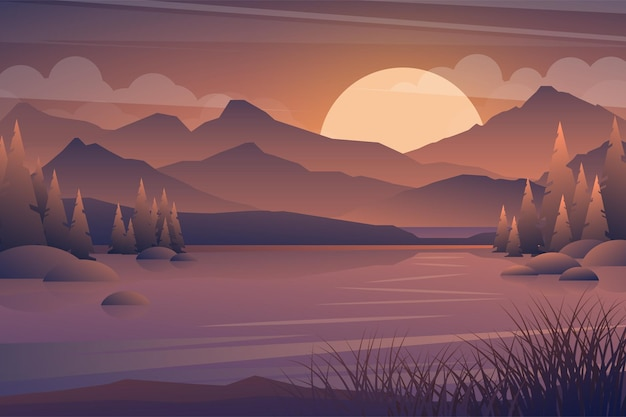 Mountain and lake sunset landscape. realistic tree in forest and mountain silhouettes, evening wood panorama.  illustration wild nature background