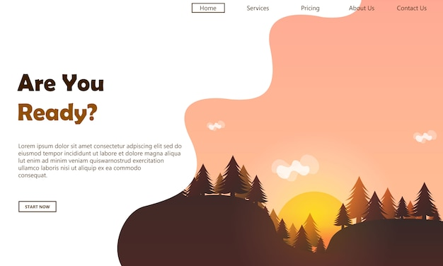 Mountain landing page template