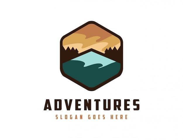 Mountain landscape adventure logo