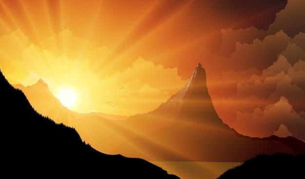 夕日の山の風景