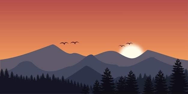 Mountain landscape background in flat design