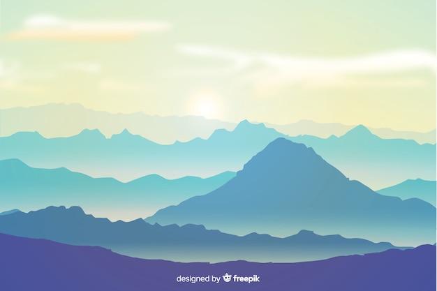 Горный пейзаж фона в плоском дизайне