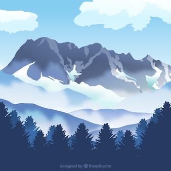 Sfondo paesaggio montano con nebbia