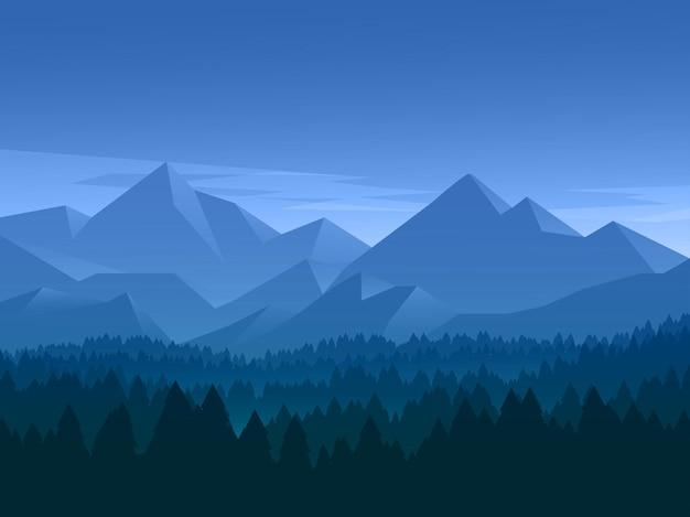 Горный пейзаж фон с силуэт леса