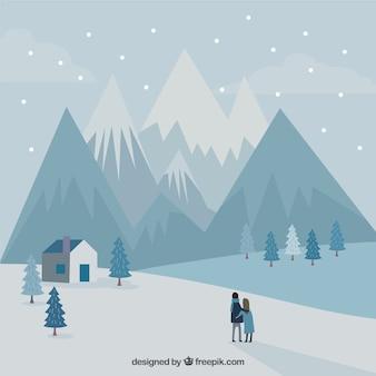 눈과 부부와 함께 산 풍경 배경