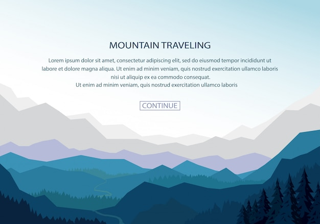 Mountain landscape banner background
