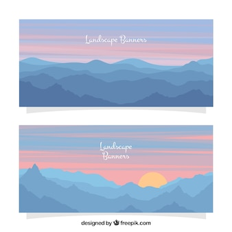 Mountain landscape banners at dusk