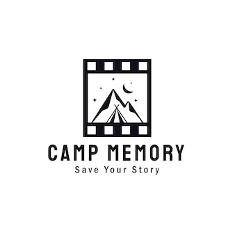 Mountain landscape and camp with classic film roll for adventure outdoor nature photography photographer logo design