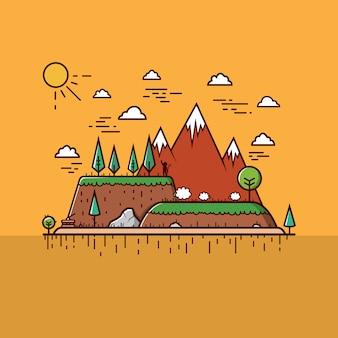 Mountain Landscape Cartoon Style