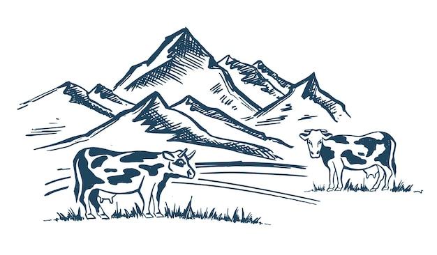 산 풍경 암소 스케치 스타일