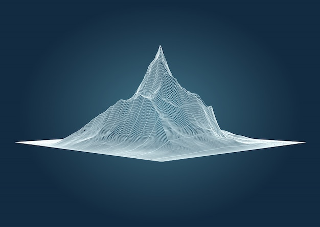 Mountain landscape in detailed wireframe design