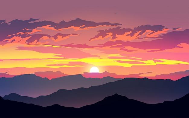 Mountain landscape in the dusk