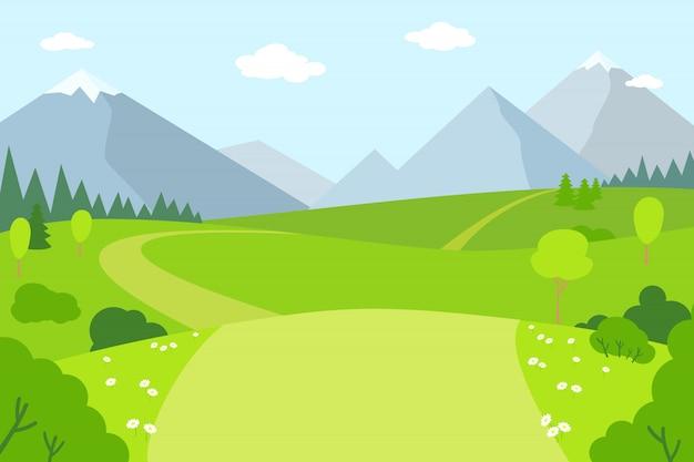 Горный пейзаж плоский мультяшном стиле. летние пейзажи на свежем воздухе. парк, зеленая трава горы