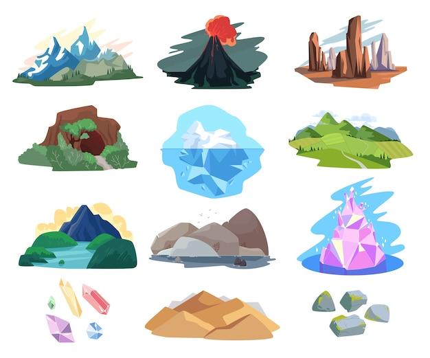 Набор иллюстраций горный пейзаж