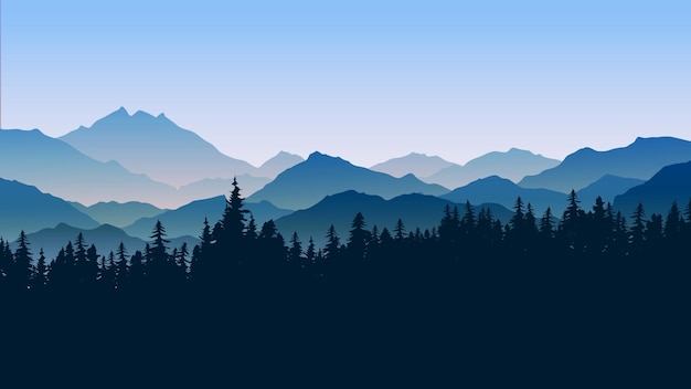 Mountain landscape illustration with fog and pine forest