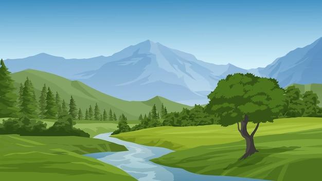 Иллюстрация горного пейзажа с ручьем и медо
