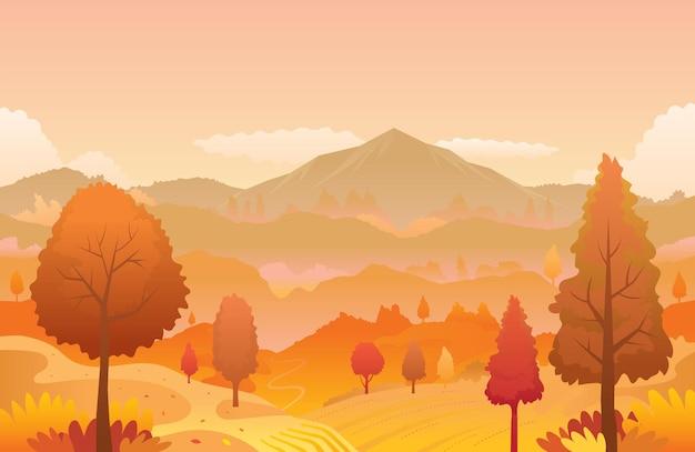 Горный пейзаж на фоне осени