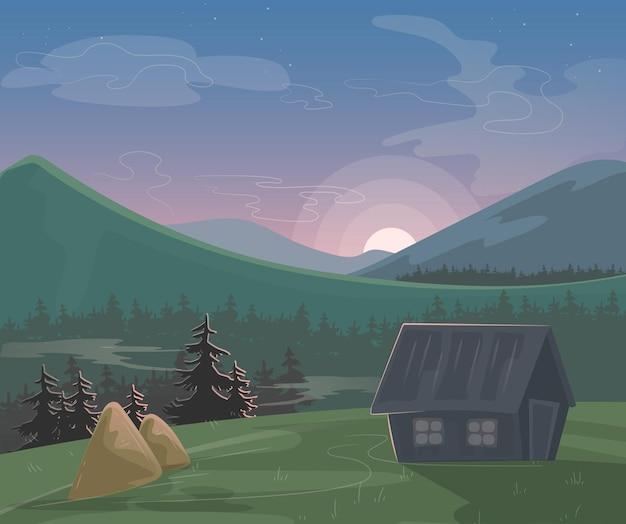 산 풍경. 아침 또는 저녁 자연 경관, 마을 집 건초 더미, 산악 지평선