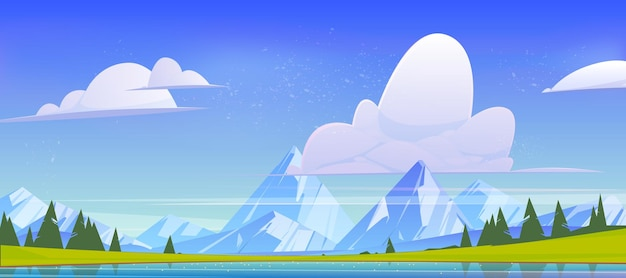 Mountain landscape, nature view with water pond, rock peaks, green field and conifers trees. calm lake and spruces under blue sky with fluffy clouds, cartoon scenery background, vector illustration