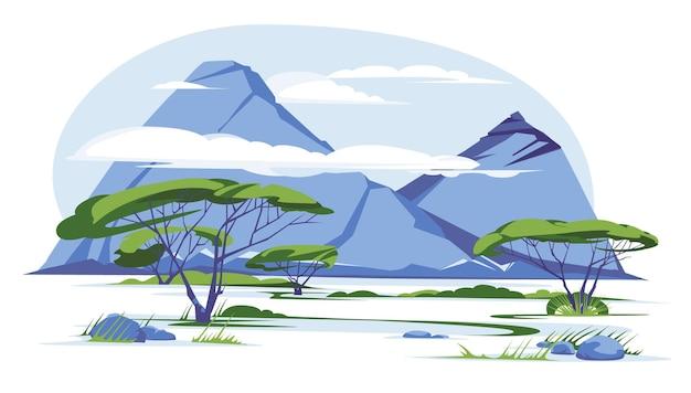 アフリカのサバンナの山の風景