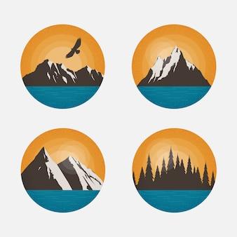 山の風景。ロゴ、エンブレム、バッジの丸い形のデザイン要素