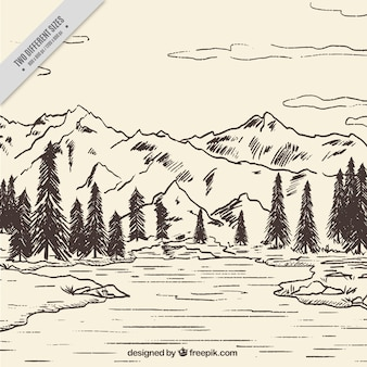 Mountain landscape sketch background