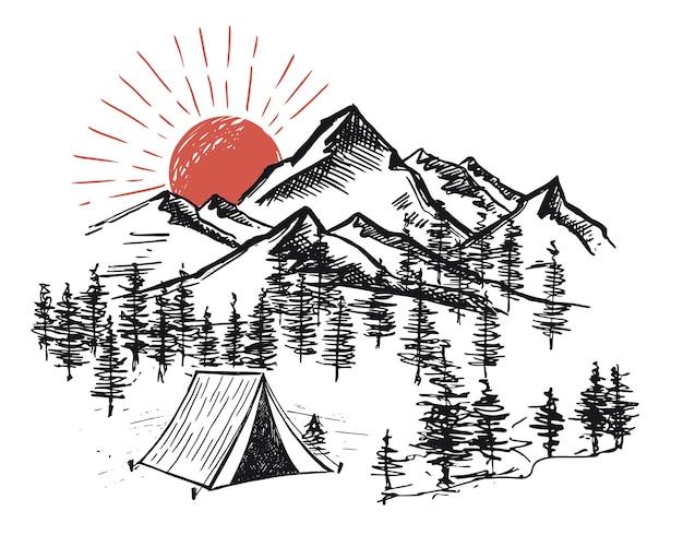 自然の中での山の風景スケッチキャンプ