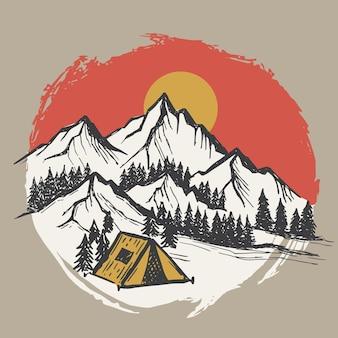山の風景ベクトルイラストスケッチスタイル