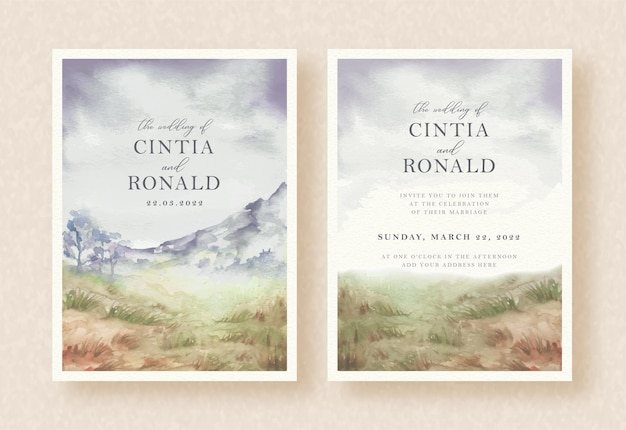 Mountain landscape watercolor painting of wedding invitation background