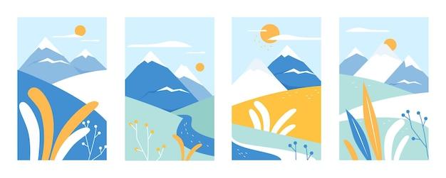 추상 자연 그림 세트와 산 풍경