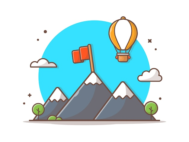 Mountain landscape with flag vector icon illustration