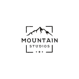 Mountain landscape with focus square lens frame for adventure outdoor nature photography photographer logo