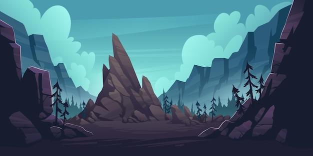 Горный пейзаж с лесом и одинокой скалой.