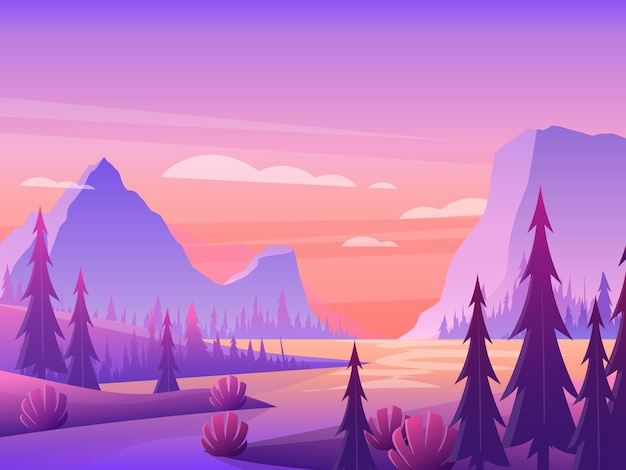 紫の空のイラストの下に森と川と山の風景。