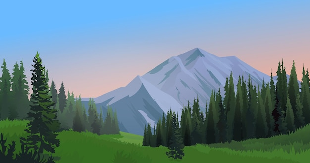 Горный пейзаж с лесом