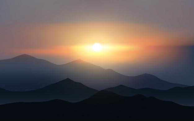 輝く夕日と山の風景