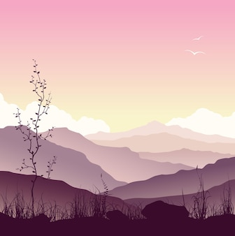 Mountain landscape with grass and tree. wild nature at sunset. vector illustration.