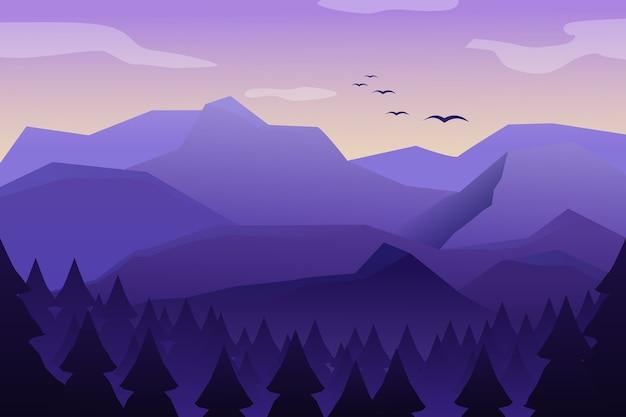 高い山と山のある山の風景