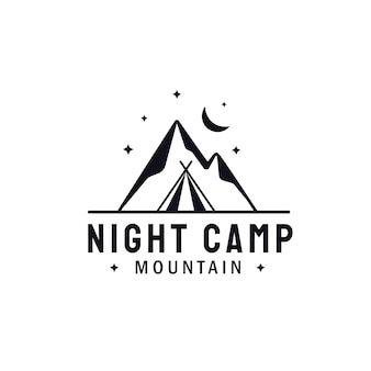 Mountain landscape with moon and star nightligth. adventure outdoor camping logo design
