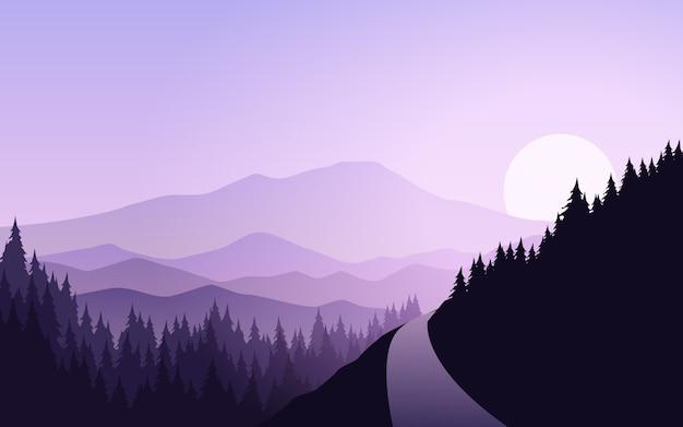 Горный пейзаж с сосновым лесом и дорогой