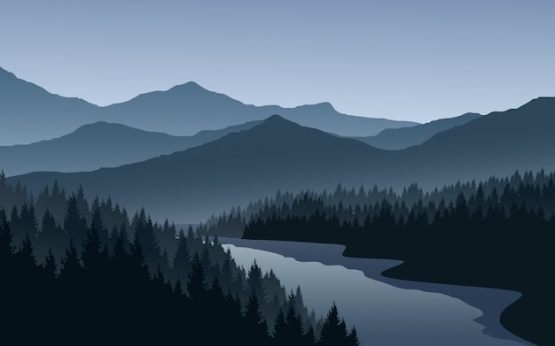 Mountain landscape with pine forest and river