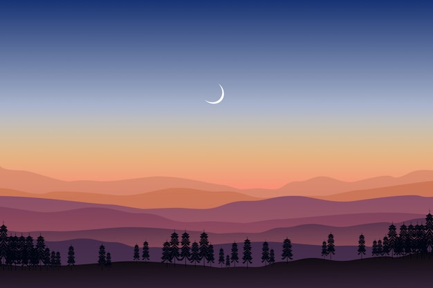 Mountain landscape with pine forest under starry night sky
