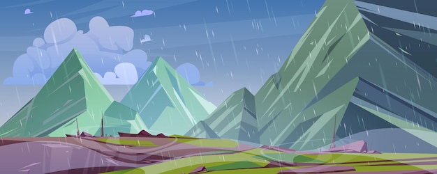 Paesaggio di montagna con pioggia fumetto illustrazione vettoriale di alte rocce e picchi con scogliere sporgenza e...